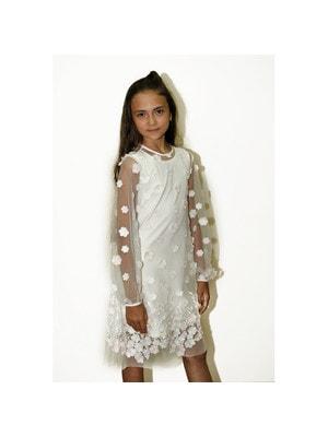Сукня, довгий рукав (вишиті білі, рожеві квіти), Білий, Daga Польща, 19VL