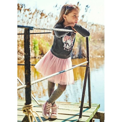 Комплект, Пуловер + рожева спідниця, Темно-сірий, Mayoral Іспанія, 22OZ