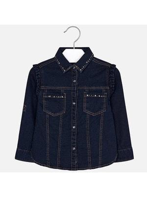 Блуза, джинсова, довгий рукав, Темно-синій, Mayoral Іспанія, 20OZ