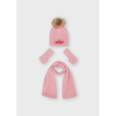 Головний убір Комплект, Шапка + шарф + перчатки, Рожевий, Mayoral Іспанія, 22OZ