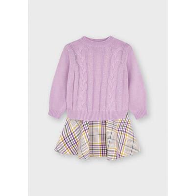 Сукня, низ в клітину +  светр, Бузковий, Mayoral Іспанія, 22OZ