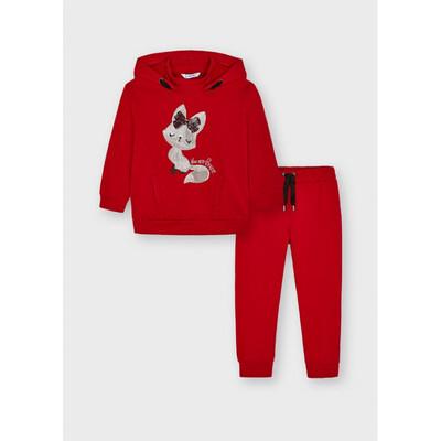 Комплект, Пуловер з капюшоном + штани, Червоний, Mayoral Іспанія, 22OZ