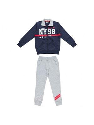 Костюм Спортивний, Кофта (білим NY 98) + сірі штани, Темно-синій, iDO Італія, 19VL