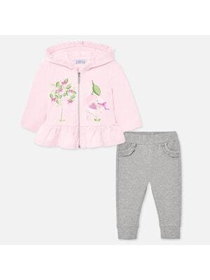 Комплект, Спортивний Кофта + сірі штани, Рожевий, Mayoral Іспанія, 20VL