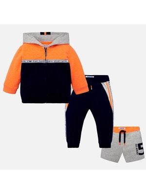 Комплект, Кофта + штани + шорти сірі, Темно-синій, Mayoral Іспанія, 19VL