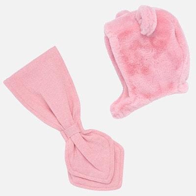 Головний убір Комплект, Шапка з вушками + шарф, Рожевий, Mayoral Іспанія, 20OZ