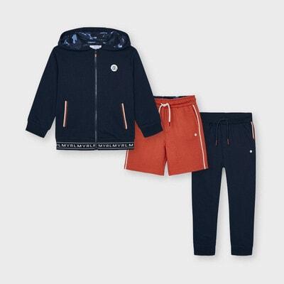 Комплект Спортивний, Кофта + коралові шорти + штани, Темно-синій, Mayoral Іспанія, 21VL