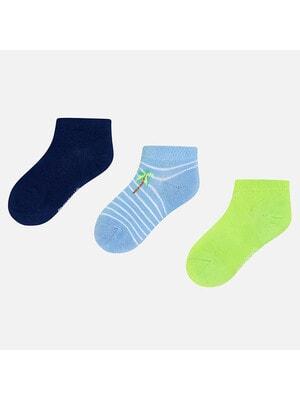 Шкарпетки, 3 пари (1 - салатові), Синій, Mayoral Іспанія, 20VL