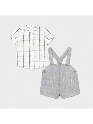 Комплект, Сорочка біла в клітину + шорти, Сірий, Mayoral Іспанія, 21VL