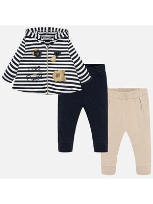 Комплект, Кофта в білу смугу + штани 2 шт. (1 - бежеві), Темно- синій, Mayoral Іспанія, 20OZ