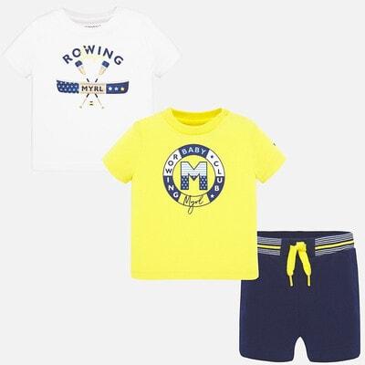 Комплект, Футболка 2 шт. (1-біла) + сині шорти, Жовтий, Mayoral Іспанія, 20VL