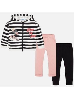 Комплект, Кофта в білу смугу + штани 2 шт. (1 рожеві), Чорний, Mayoral Іспанія, 20OZ