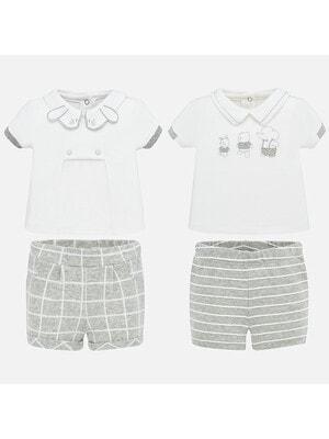 Комплект, 4 од. Футболка + шорти сірі, Білий, Mayoral Іспанія, 20VL