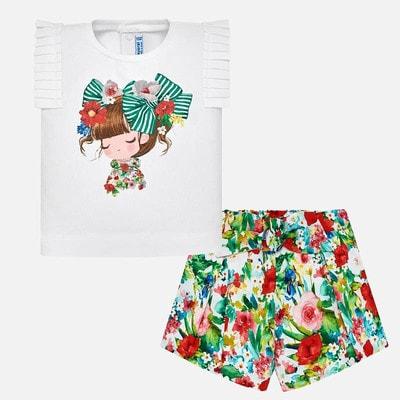 Комплект, Футболка (дівчинка) + в  квітах зелені шорти, Білий, Mayoral Іспанія, 19VL