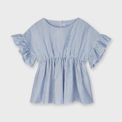 Блуза, в белую полосу, Синий, Mayoral Испания, 21VL