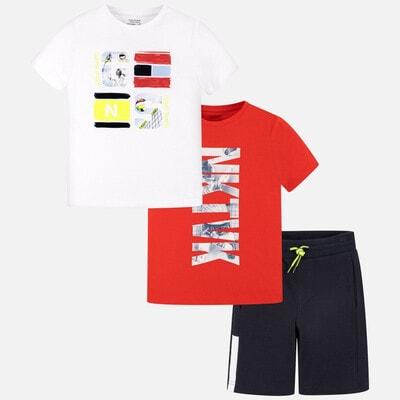 Комплект, Футболка біла + футболка червона + шорти, Темно-синій, Mayoral Іспанія, 20VL