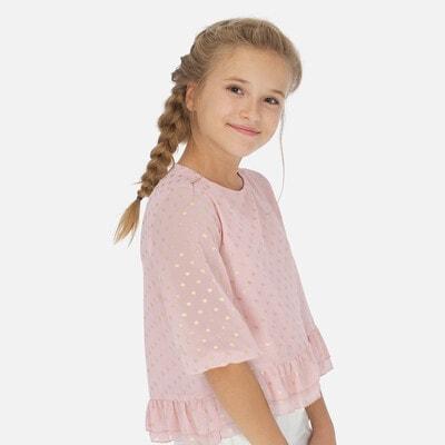 Блуза, в золотистий горошок, Рожевий, Mayoral Іспанія, 20VL