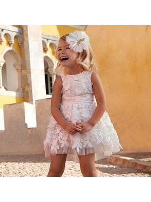 Сукня, у вишитих квітах, Білий, Mayoral Іспанія, 19VL
