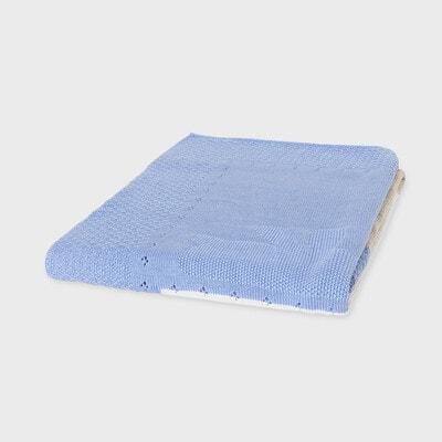 Ковдра, в'язана  синя та бежева вставки (100смх80см), Кремовий, Mayoral Іспанія, 21VL