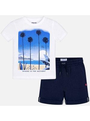 Комплект, Футболка + темно-сині шорти, Білий, Mayoral Іспанія, 19VL