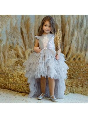 Платье, верх в пайетках (шлейф отстегивается), Серый, Pamina Турция, 20VL