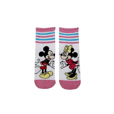 Шкарпетки, MINNIE MOUSE  рожева окантовка (Мінні з жовтим бантиком), Білий, Disney Польща, 21OZ