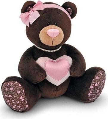Іграшка М'яка, Ведмедик  Milk з намистом і рожевим бантиком 35см (сидячий), ORANGE Китай