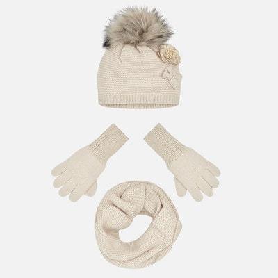 Головний убір Комплект, Шапка + шарф + перчатки, Бежевий, Mayoral Іспанія, 20OZ