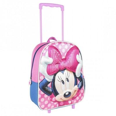 Сумка-рюкзак на колесах 3D MINNIE (35х25х10) Cerda, Розовый, Disney Испания, 21OZ