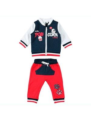 Костюм Спортивний, Кофта (POP CORN) + червоні штани, Темно-синій, iDO Італія, 19VL