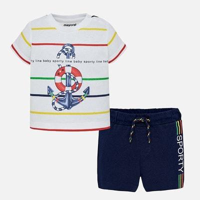 Комплект, Футболка в смугу + шорти темно-сині, Білий, Mayoral Іспанія, 19VL