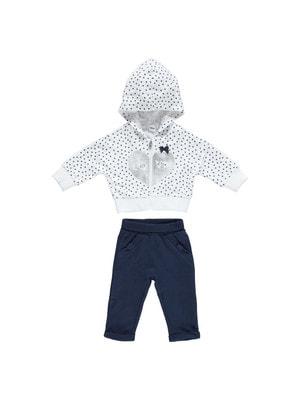 Костюм Спортивний, Кофта біла в горошок (сріблясте серце) + штани, Темно-синій, iDO Італія, 19VL