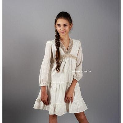 Сукня, довгий рукав, Кремовий, Mayoral Іспанія, 20VL