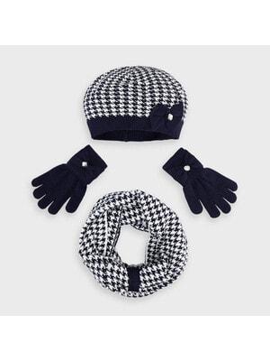 Головний убір Комплект, Шапка + шарф + рукавички (біла абстракція), Темно-синій, Mayoral Іспанія, 21OZ