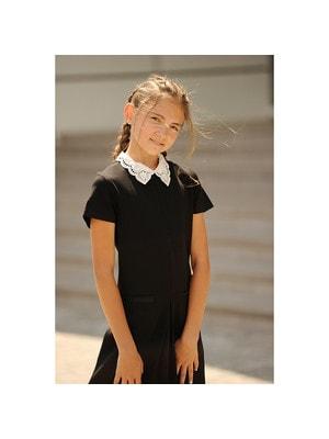 Шкільна форма, Сукня,короткий рукав,білий комір, Чорний, ТМ Colabear, 19Ошкола