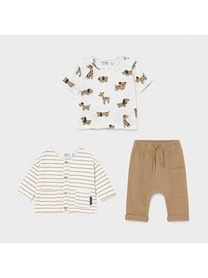 Комплект, Кофта в смугу + футболка + штани, Коричневий, Mayoral Іспанія, 21VL