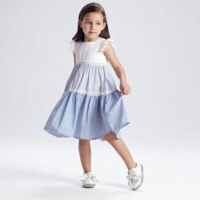 Сукня, Білий верх, низ, Блакитний, Mayoral Іспанія, 21VL