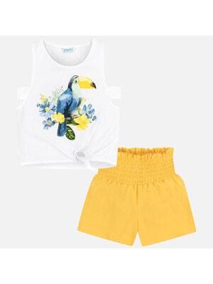 Комплект, Майка біла (тукан) + шорти, Жовтий, Mayoral Іспанія, 20VL