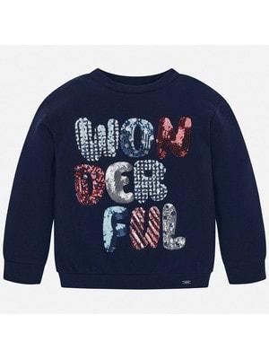 Пуловер, (написи з паєток), Темно-синій, Mayoral Іспанія, 20OZ