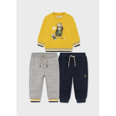 Комплект Спортивний, Пуловер + штани 2 шт., утеплений, Жовтий, Mayoral Іспанія, 22OZ