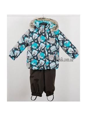 Комплект, Куртка (бірюзові мордашки) + напівкомбінезон, Коричневий, Lenne Естонія, 20OZ