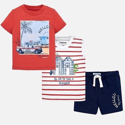 Комплект, Футболка  + майка в смугу + сині шорти, Червоний, Mayoral Іспанія, 19VL