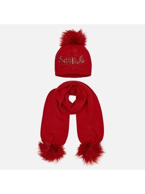 Головний убір Комплект, Шапка + шарф (SMILE), Червоний, Mayoral Іспанія, 20OZ