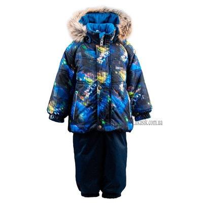 Комплект, Куртка (синя, жовта абстракція) + напівкомбінезон, Темно-синій, Lenne Естонія, 20OZ