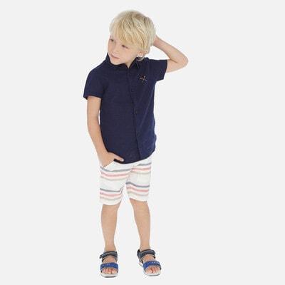 Комплект, Сорочка  + шорти білі в смугу, Темно-синій, Mayoral Іспанія, 20VL