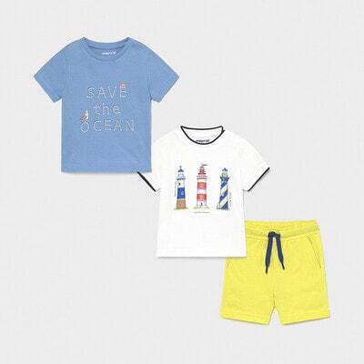Комплект, Футболка 2 шт. + салатові шорти, Блакитний, Mayoral Іспанія, 21VL