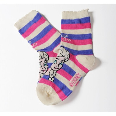 Шкарпетки, FROZEN  рожеві та бузкові смуги  (Ельза), Кремовий, Disney Польща, 21OZ