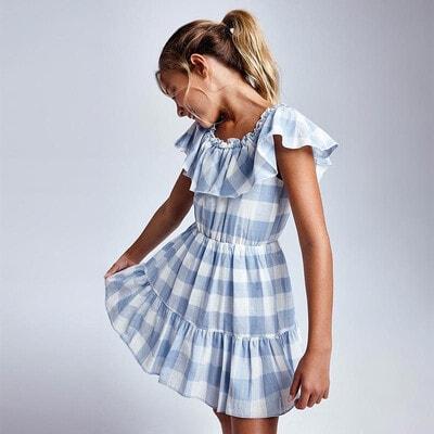 Сукня, в білу клітину, Блакитний, Mayoral Іспанія, 21VL