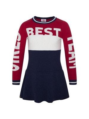 Сукня, в'язана, довгий рукав (зверху червона та біла вставки, BEST), Темно-синій, TucTuc Іспанія, 20OZ