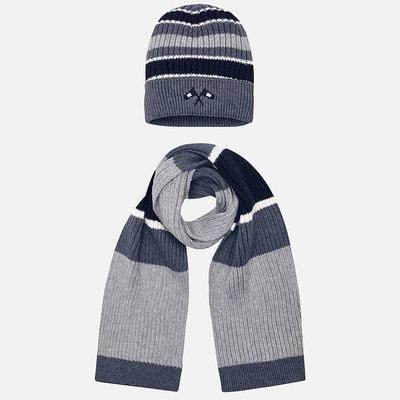 Головний убір Комплект, Шапка + шарф (сині, білі смуги), Сірий, Mayoral Іспанія, 20OZ